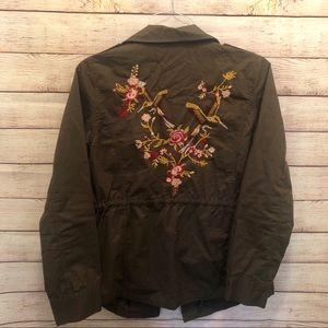 Sweet Wanderer Embroider Army Green Jean Jacket
